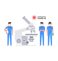 Group medial doctors working microscope vector