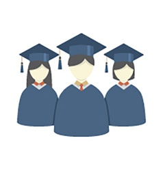 Group of Students In Graduation Gown And vector