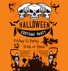 halloween holiday poster for costume horror party vector image