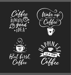 hand drawn coffee related quotes set vector image