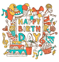 Hand-drawn Happy Birthday card vector image