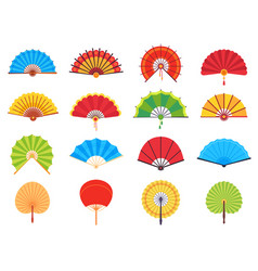 Handheld fan chinese or japanese paper ancient vector