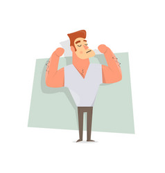 handsome guy man shows large muscles vector image