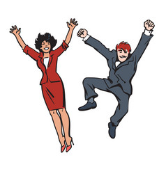 happy couple jumping and having fun woman and man vector image