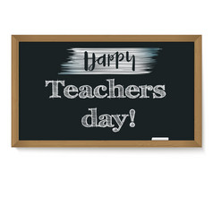 Happy teacher day school chalkboard with vector