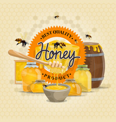 Honey product bees honeycomb design vector