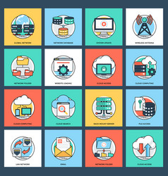 Icon pack of internet and networking vector