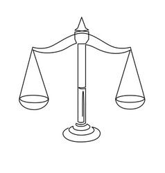 Justice scales continuous one line drawing weight vector