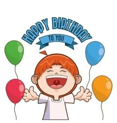 Kid boy balloons happy birthday design vector