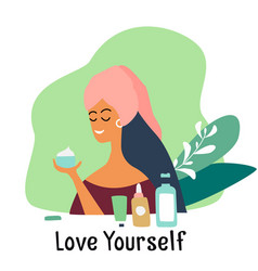 Love yourself girl care about herself vector