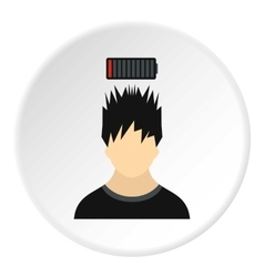 Male avatar and discharge batteries icon vector