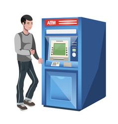 man standing near atm machine vector image