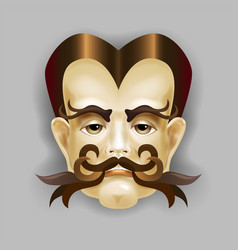 Man with a beautiful hair and a luxurious mustache vector