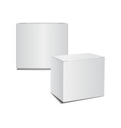 Mockup white cardboard plastic package box vector