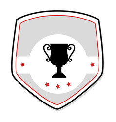 monochrome shield with trophy cup and stars vector image