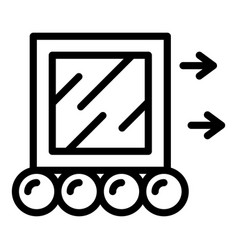 Moving a cube icon outline style vector