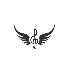 music note wing icon design template isolated vector image