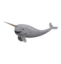 narwhals tusking icon cartoon style vector image