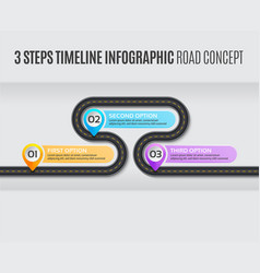 Navigation map infographic 3 steps timeline road vector