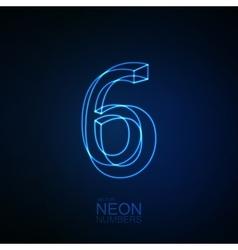 Neon 3D number 6 vector