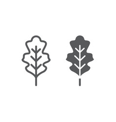oak leaf line and glyph icon nature and botany vector image