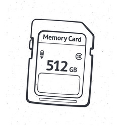 outline compact memory card flash drive vector image