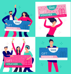 people hold gift coupon happy man woman and vector image
