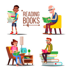 people reading books big stack of books vector image