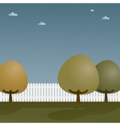 Picket fence with trees vector