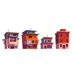 Poor dirty houses buildings in ghetto area vector