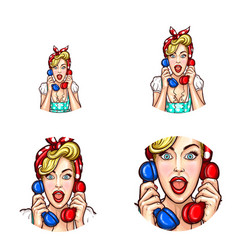 Pop art woman or girl speaking gossip on phone vector
