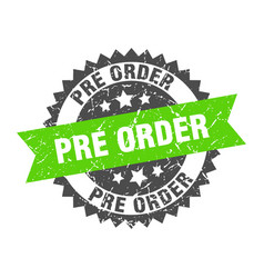 Pre order grunge stamp with green band pre order vector
