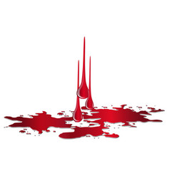 puddle of blood with drops isolated on white vector image
