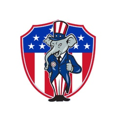 republican elephant mascot thumbs up usa flag vector image