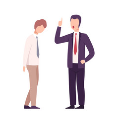 rude boss threatening and yelling to male office vector image