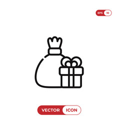 sack and gift icon vector image