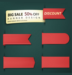 sale banner tags set red discount badges and big vector image