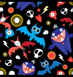 seamless bright festive halloween pattern vector image
