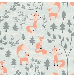 Seamless pattern with fox in winter forest vector