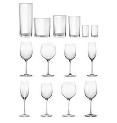 Set empty glass glasses and wine glasses vector