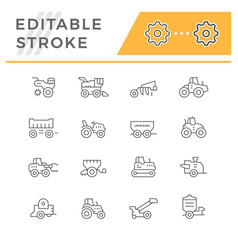 Set line icons of agricultural machinery vector