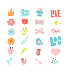 set of decorative cute hand drawn elements vector image