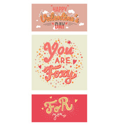 set of valentines day quotes typography vector image
