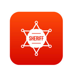 sheriff badge icon digital red vector image