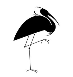 Silhouette of a heron vector