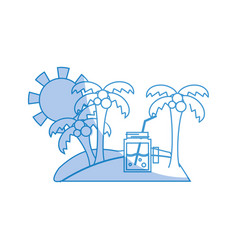 Silhouette palms with beverage in the island on vector