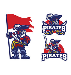 skull pirates mascot set vector image