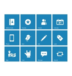 Social icons on blue background vector image