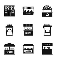 Street eating icons set simple style vector