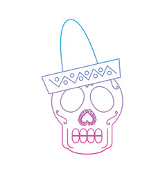 Sugar skull with sombrero mexico culture icon vector